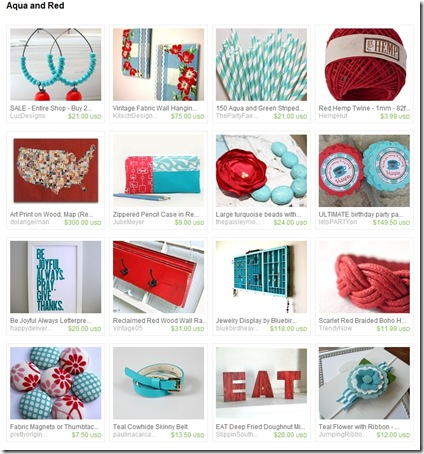 EtsyTreasury-AquaandRed-VintageWallArt